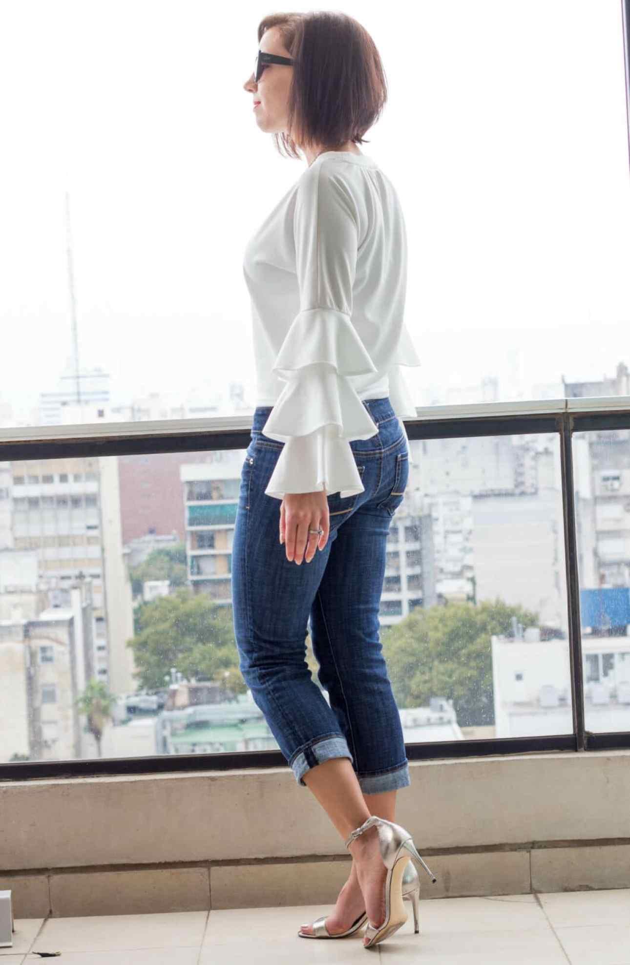 Shein ruffle sleeves white top
