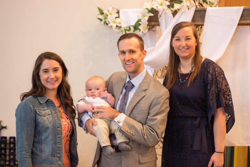 For guys, when in doubt, opt for a suit to wear to baptism