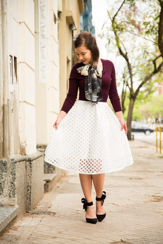Asian Eye scarf + Shein eyelet skirt