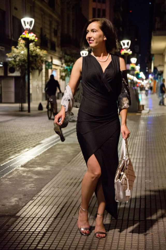Tobi black dress + Asian Eye silk scarf