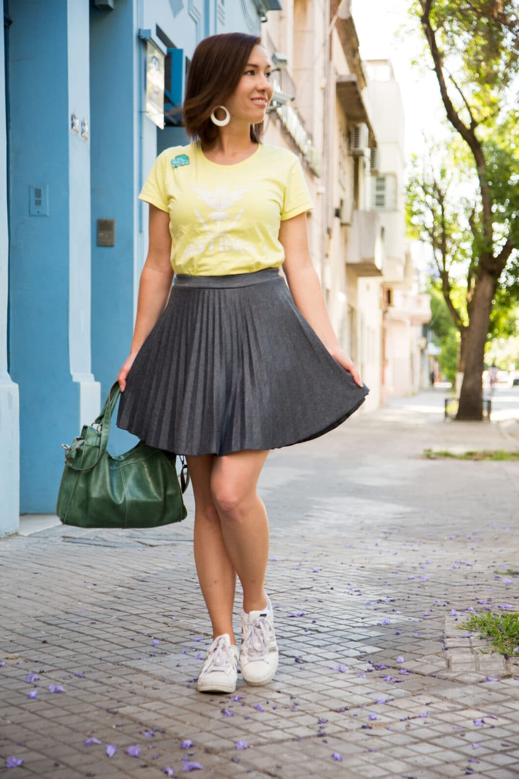 ModCloth grey pleated skirt - Adidas Superstar sneakers