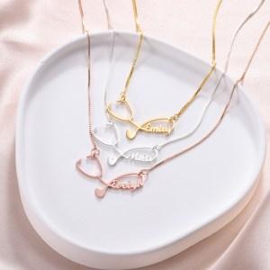 Personalized Stethoscope Necklace with Name – Nurse Stethoscope Pendant