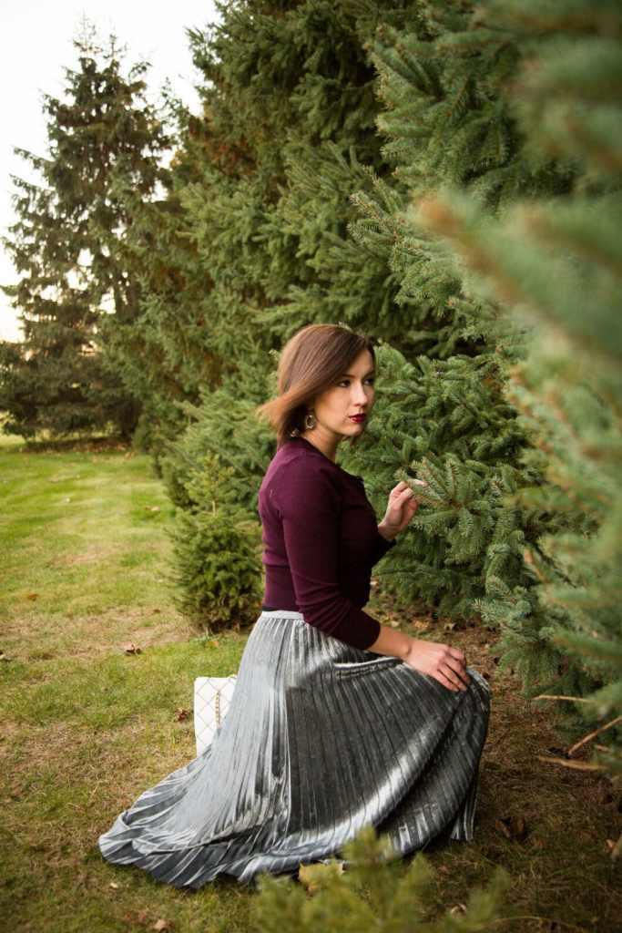 Metallic skirt for Christmas