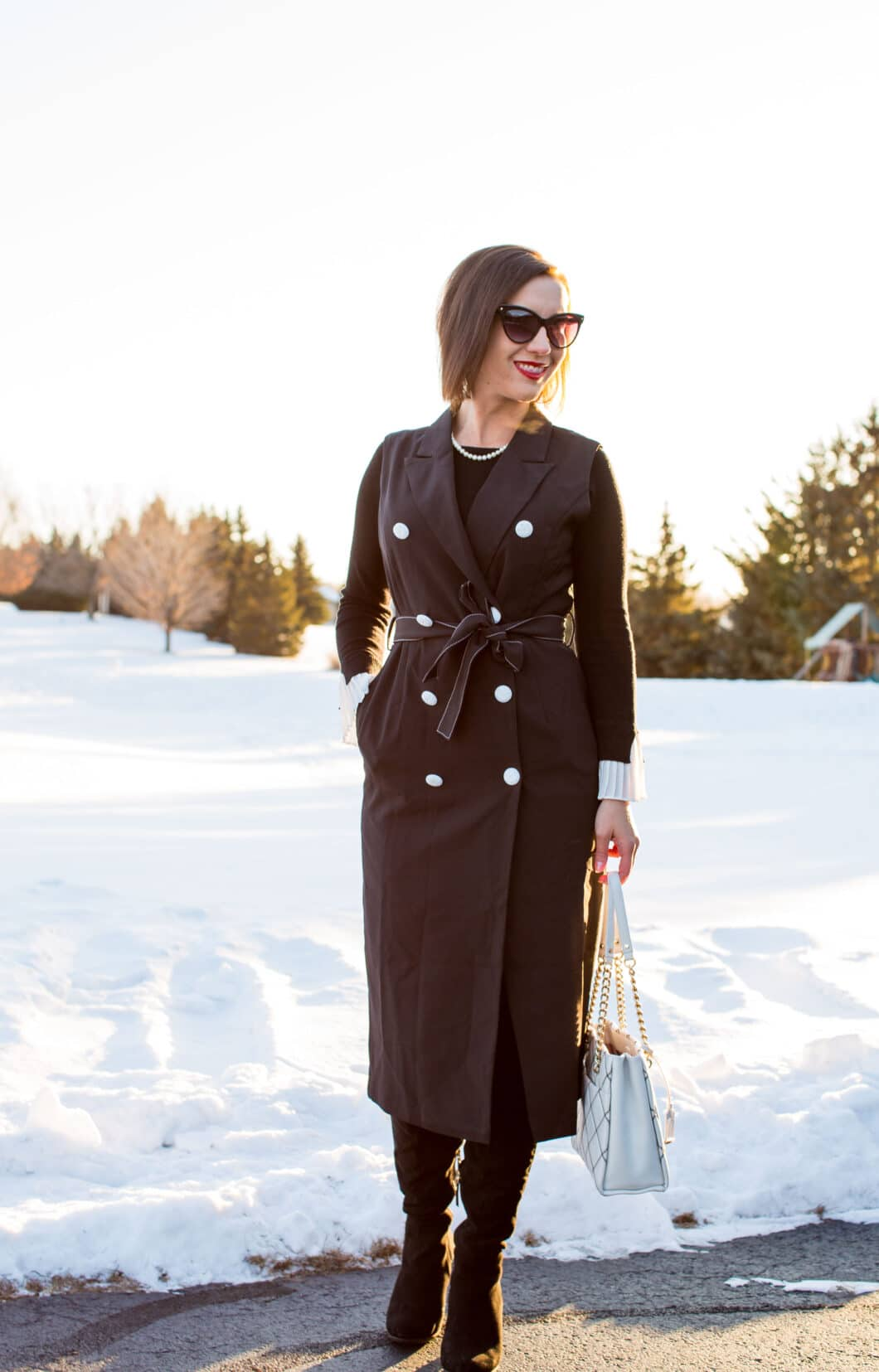 Black Lapel Double Breasted Standard Women's Vest