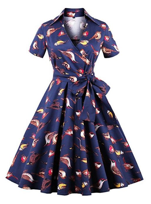 bird fit and flare dress