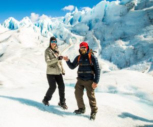Cheers!! Enjoying our glacier ice drinks at the end of the Perito Moreno hike.