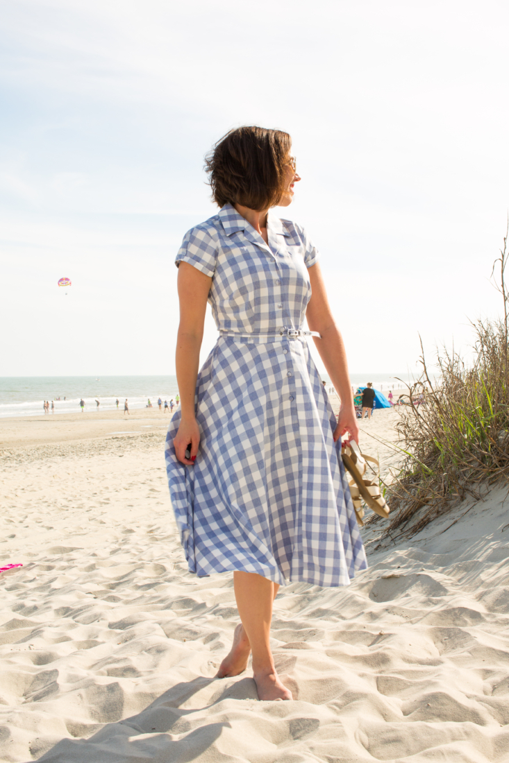 Unique Vintage 1950s Style Light Blue & White Gingham Alexis Short Sleeve Swing Dress
