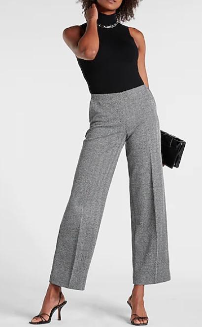 Mid Rise Herringbone Trouser Pant