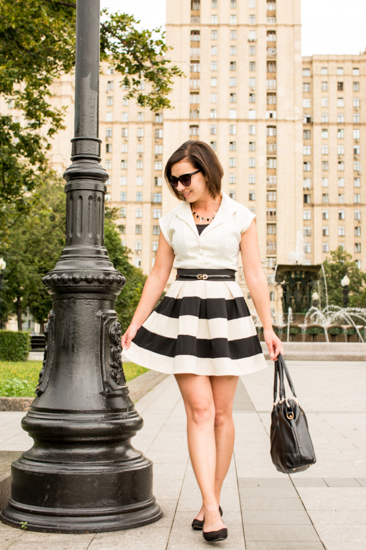 Black and white striped classic outfit