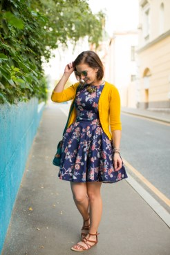 Floral dress + yellow cardigan