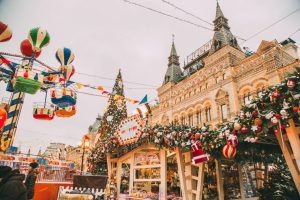 photos of the GUM Mall during Christmas in Moscow, Russia