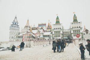 Izmailovsky Kremlin (Market) during winter.