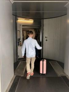 Zac using my luggage