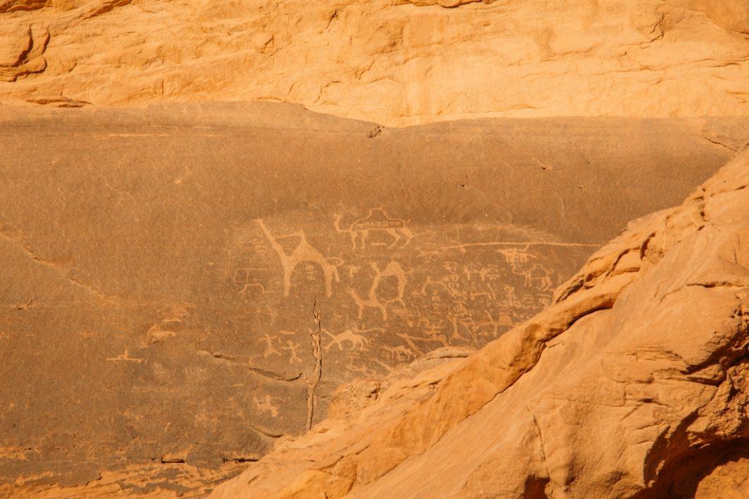 Ancient petroglyphs in Wadi Rum