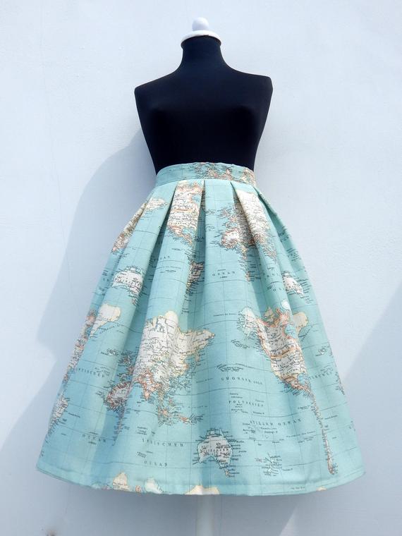 World map skirt in blue, high waisted full skirt, all sizes and plus sizes