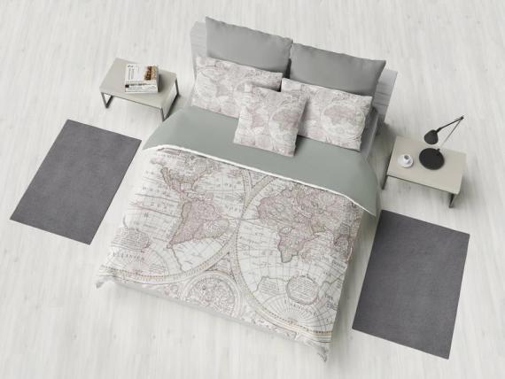 World Map Duvet Cover - bed - bedroom, travel decor, cozy soft, gray, grey, winter, warm, wanderlust