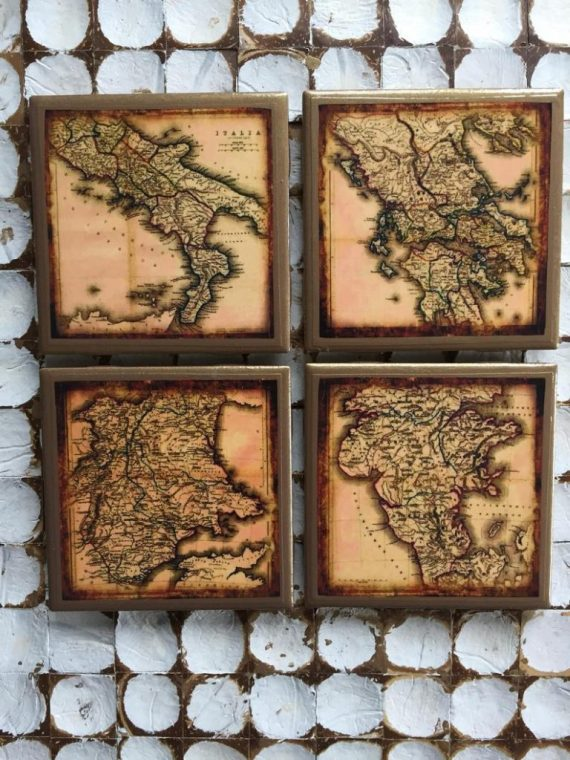 COASTERS! Antique map coasters with gold trim