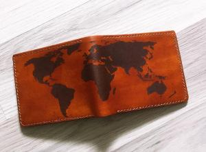 World map Personalize man wallet,genuine leather man wallet,custom boyfriend gifts,anniversary gift for man,fathers birthday gift