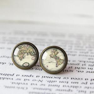 Vintage World Map Globe Earrings, Earth Stud Earrings, Mismatch Earrings, Globe Earrings, Earth Studs, Map Jewelry, Vintage Adventurer Gifts