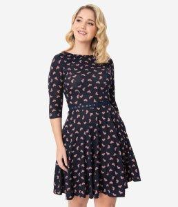 Unique Vintage Navy & Pink Heart Stephanie Fit & Flare Dress