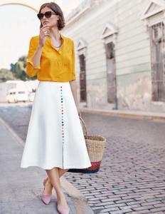 Cecilia Linen Skirt - White