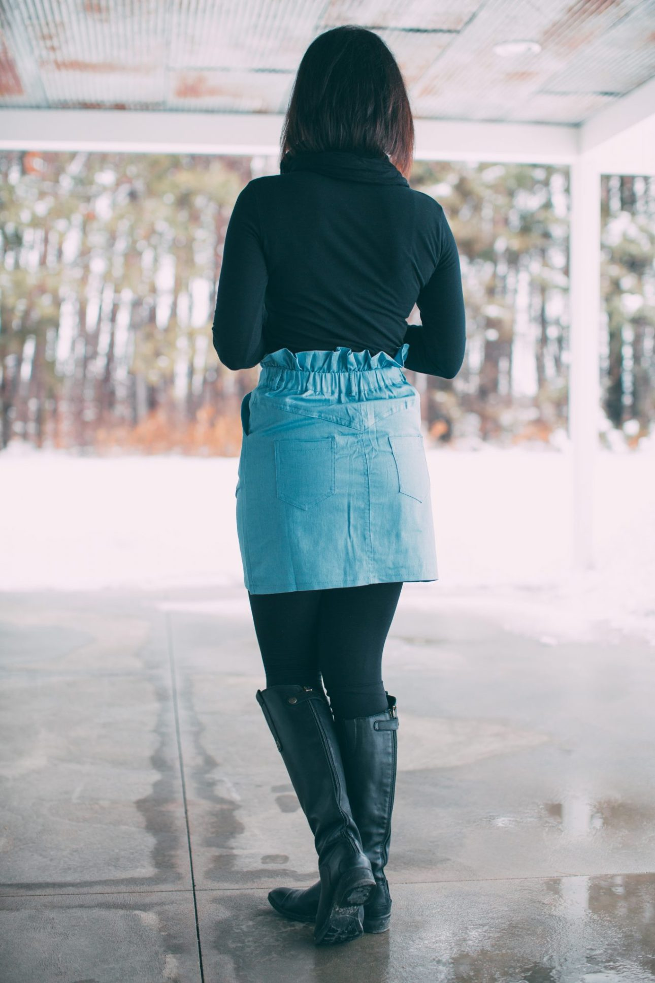 Styling a Denim Skirt With Leggings + Boots for Winter (mini skirt is from Femme Luxe)