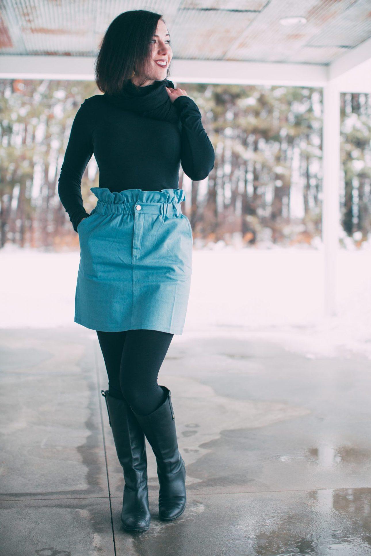 Denim skirt styled for winter