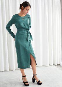 Satin Side Knot Midi Dress - & other stories