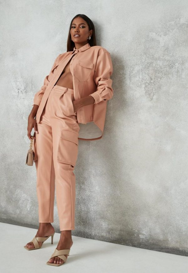 peach faux leather pocket tapered pants