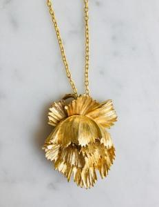 Brutalist style flower, circa 1940s, delicate yet bold. 18ct gold plate, and gold chain.