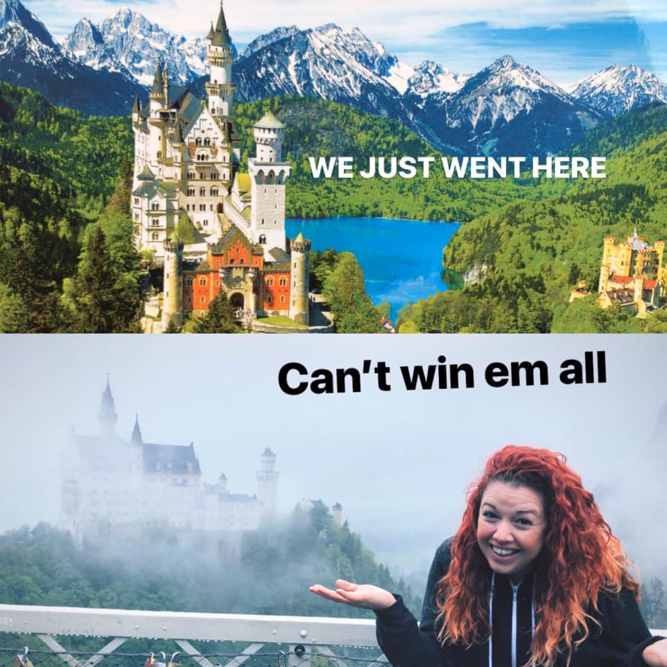 neuschwanstein castle reality vs expectation funny travel photo