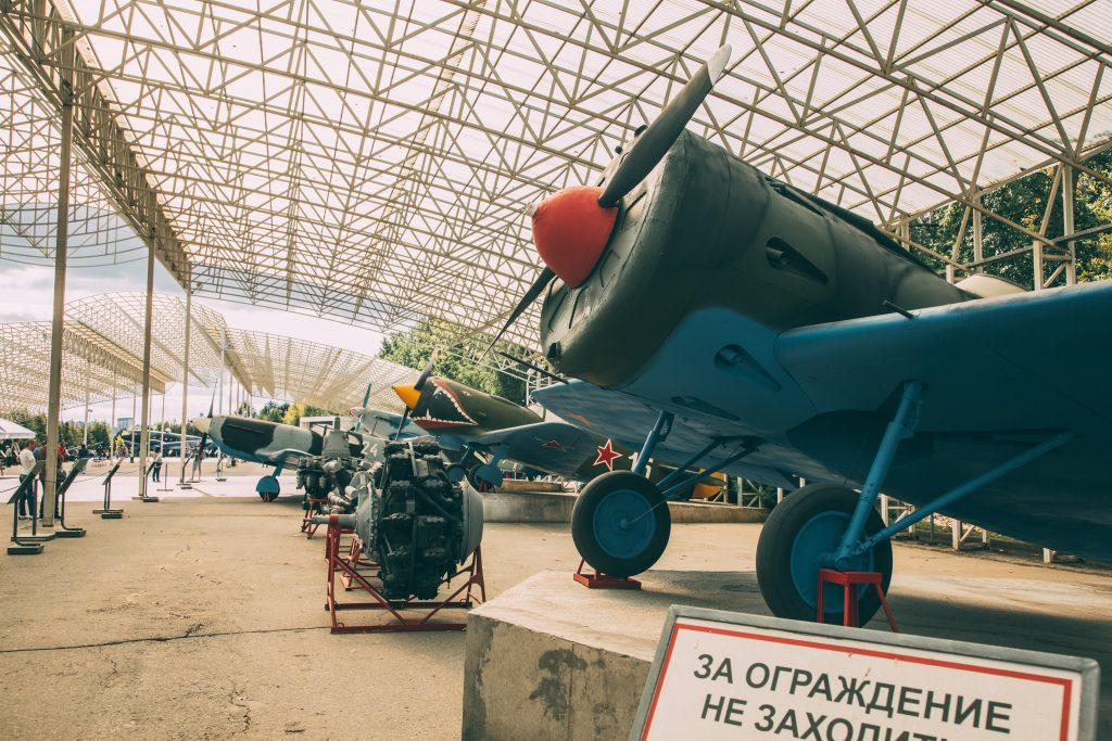Aircraft on display at the open-air exhibit at Victory Park in Moscow, Russia