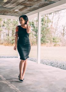 Black One Shoulder Puff Sleeve Ruched Side Midi Dress