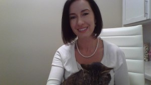 Working from home with my cat Cream cardigan and XCVI Leggings What to Wear When You Work From Home - Tips for Dressing Stylishly Yet Comfortably