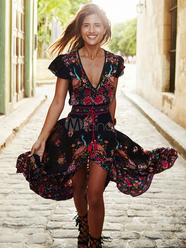 Boho Maxi Dress V Neck Short Sleeve High Split Floral Print]Long Warp Dress