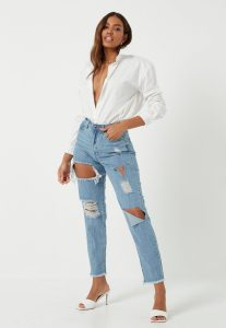 MISSGUIDED blue stonewash riot high rise ripped denim mom rigid jeans