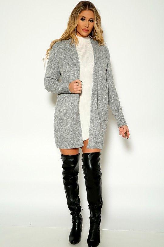 Grey Long Sleeve Open Front Cardigan