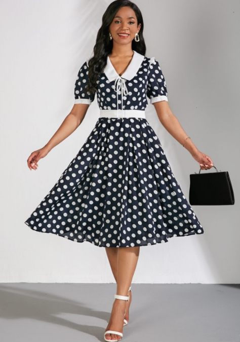 Polka Dots Flat Collar Short Sleeve Dress