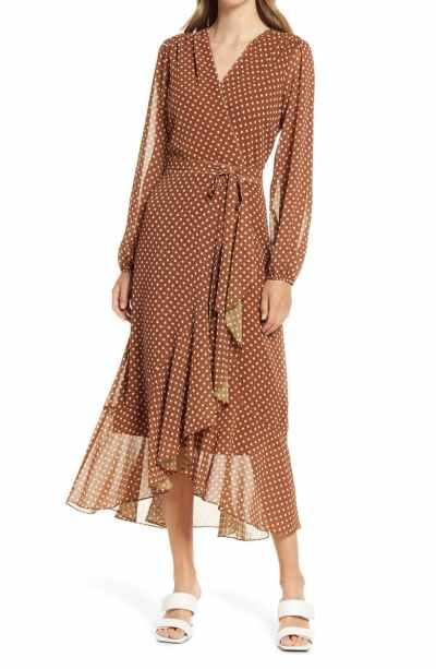 Polka Dot Wrap Front Long Sleeve Dress SAM EDELMAN