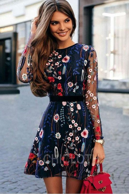 B| Chicloth Floral Embroidery Sheer Mesh Summer Bohemian Mini Dress