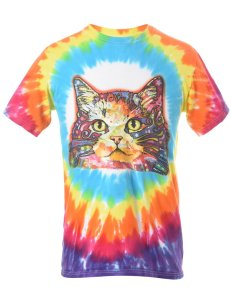 1990S TIE DYED CAT ANIMAL T-SHIRT - S