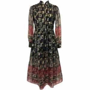 70's Shiny Buttoned Midi Dress