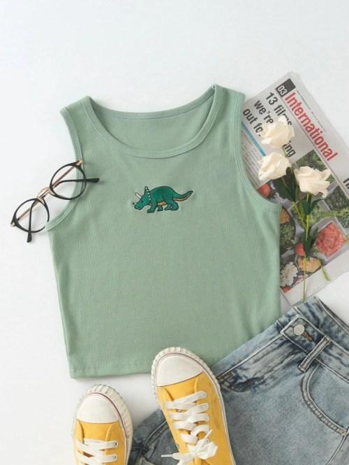 Dinosaur Embroidery Rib-knit Tank Top