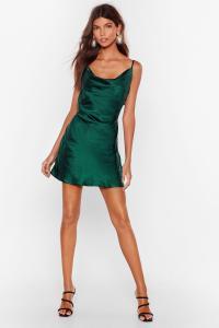 Cowl Neck Satin Mini Dress