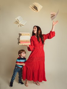 Lindsay and her son pose for a cute and creative photo together