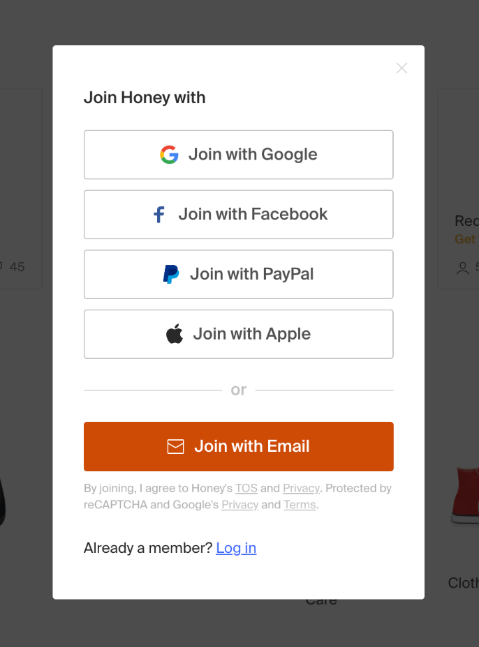 How to sign up to honey