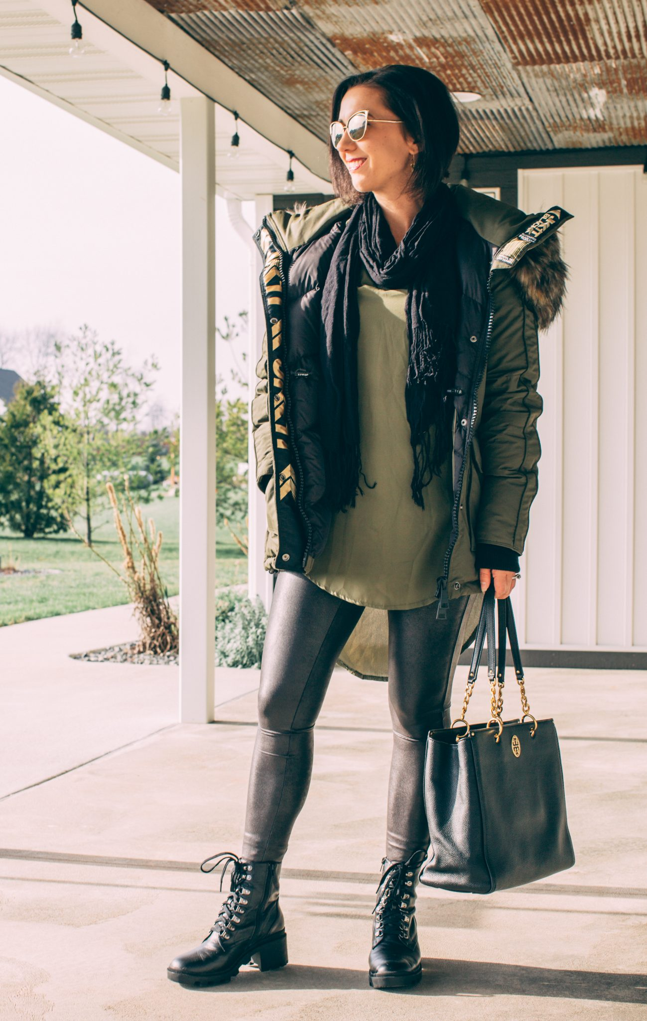 My JACK1T coat styled in with edgy faux leather leggings and combat boots