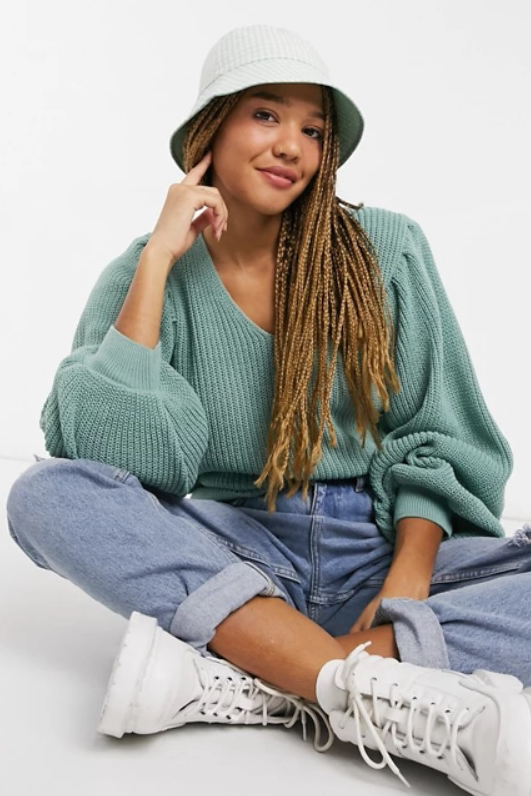 ASOS DESIGN v-neck sweater with shoulder pads in light green