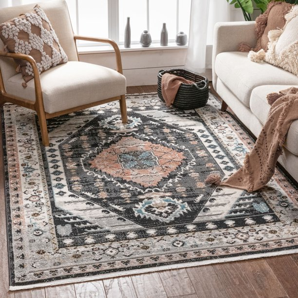 Well Woven Jolena Multi Black Vintage Oriental Distressed Medallion Pattern Boho Area Rug