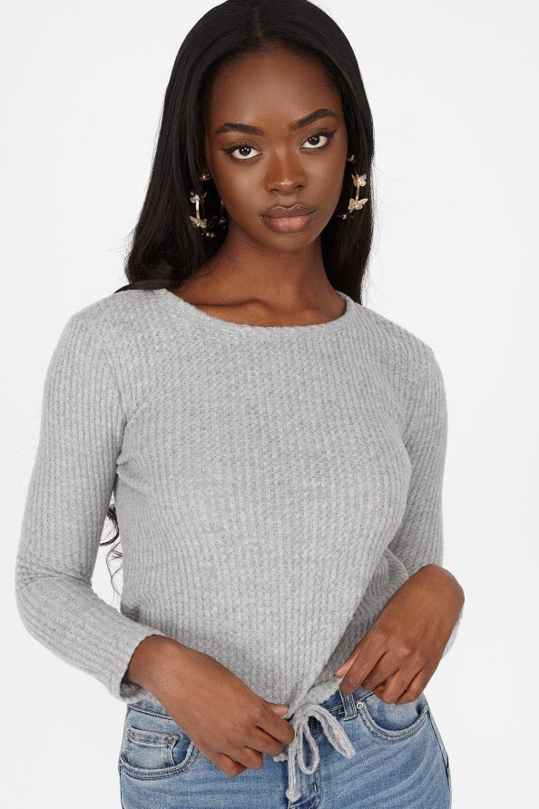 Waffle Knit Self-Tie Cinched Hem Long Sleeve Top
